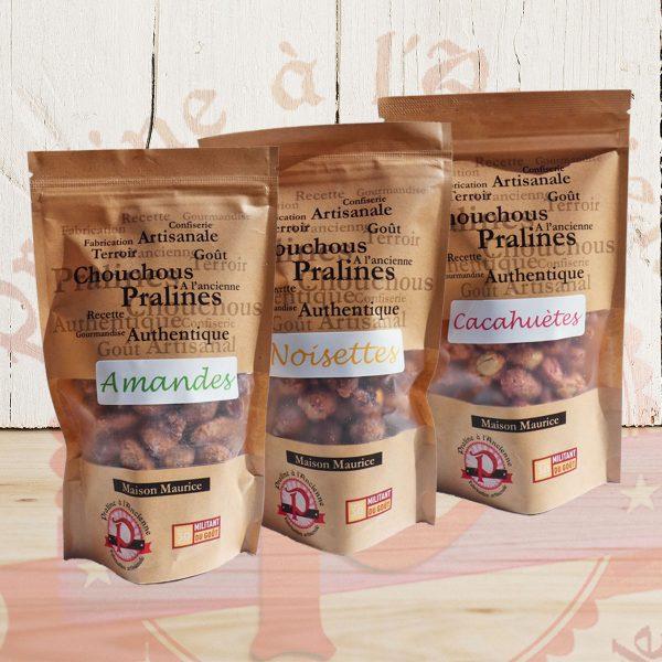 Lot de 3 pralines chouchous noisette, amande et cacahuète