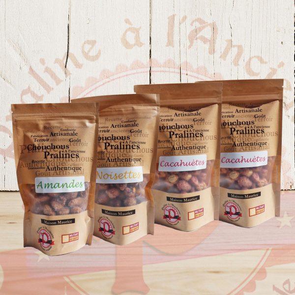Lot de 4 pralines chouchous noisette, amande et cacahuète